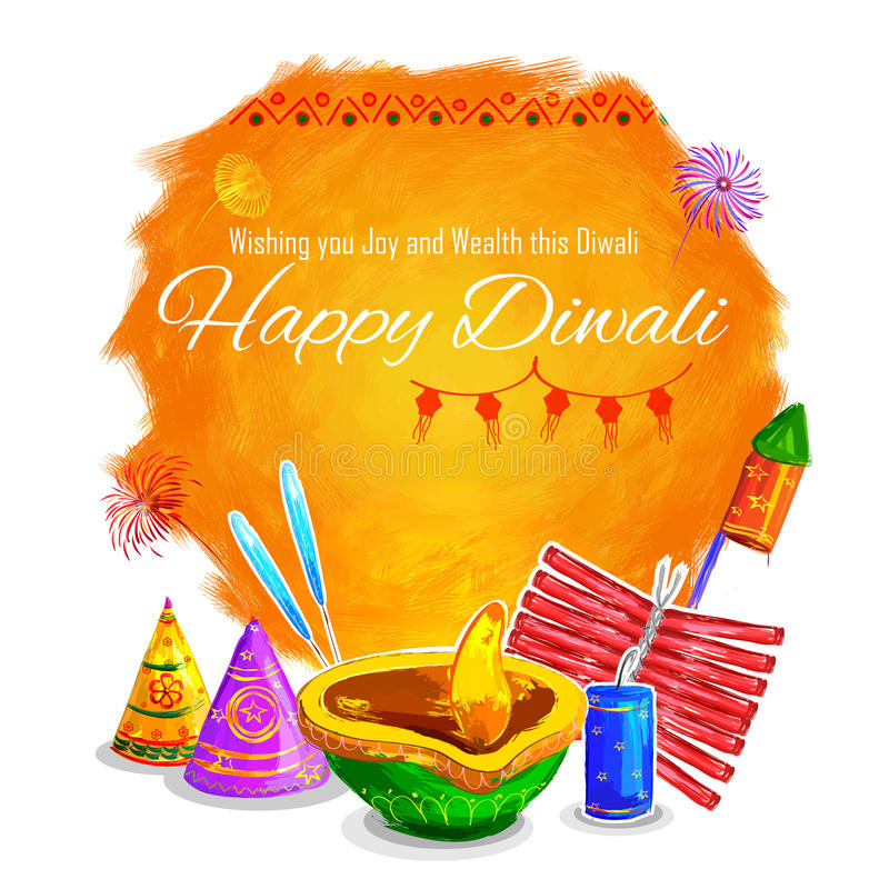 Diya акварели счастливой предпосылки Diwali coloful иллюстрация штока