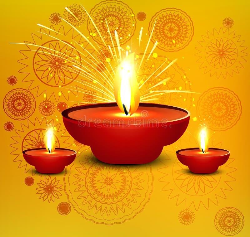 Diya религиозной карточки diwali красивое иллюстрация вектора