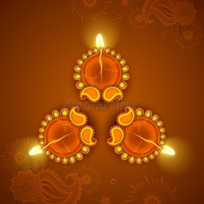 Diya adornado para el día de fiesta de Diwali ilustración del vector