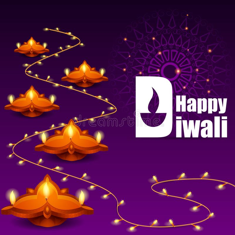 Diya adornado para la celebración feliz del día de fiesta del festival de Diwali del fondo del saludo de la India libre illustration