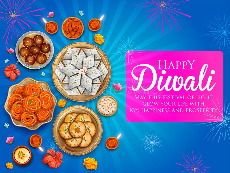 Diya ardente com doce sortido e petisco no fundo feliz do feriado de Diwali para o festival claro da Índia ilustração stock