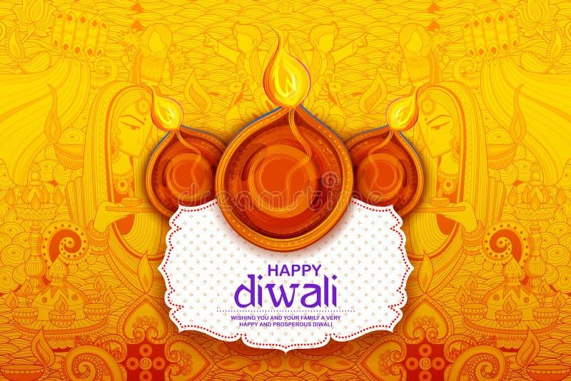 Diya ardente no fundo feliz do feriado de Diwali para o festival claro da Índia ilustração royalty free