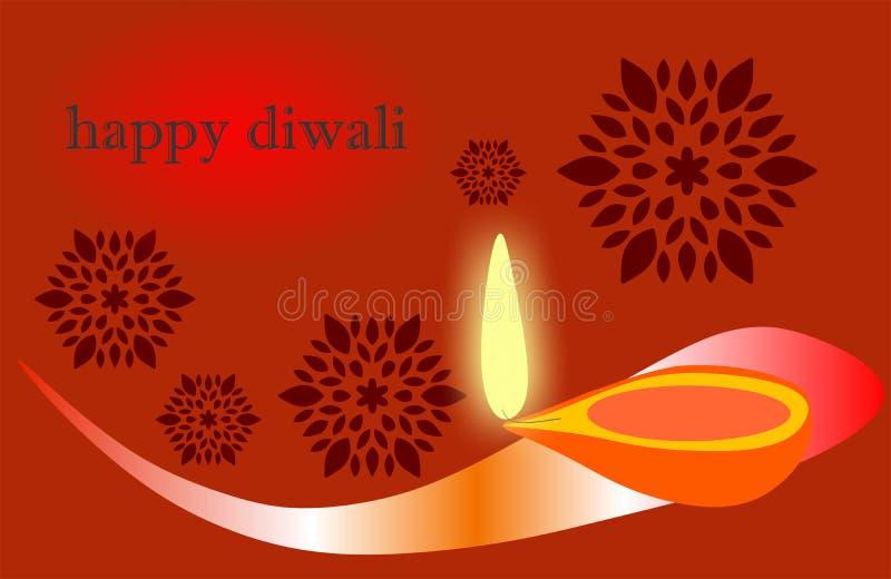 Diya ardiente en el fondo feliz del día de fiesta de Diwali para el festival ligero de la India Diwali, creativo libre illustration
