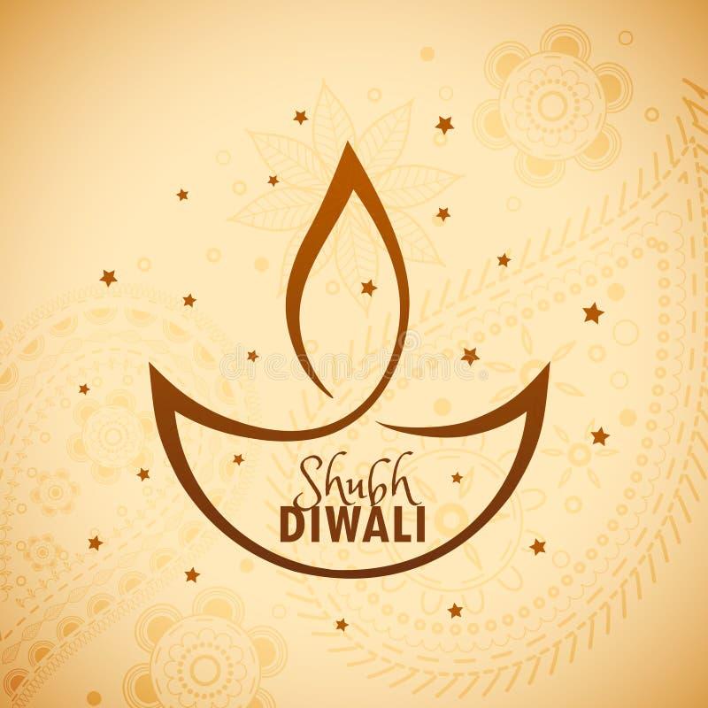 Diya artístico do diwali com estrelas ilustração royalty free