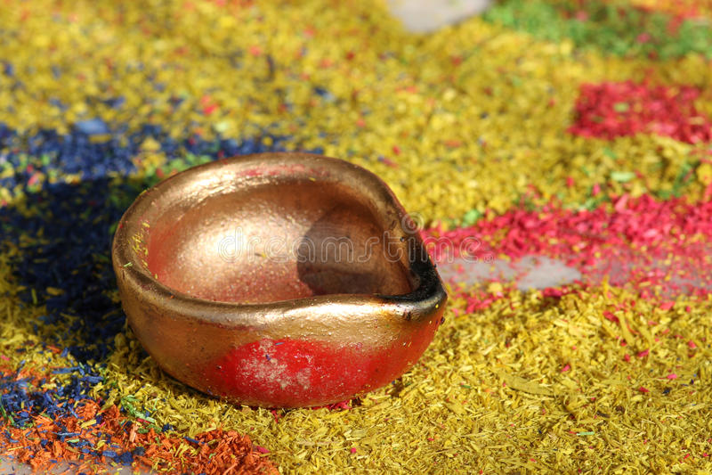 Diya. Beautiful shot of earthen pot called diya in india royalty free stock photography