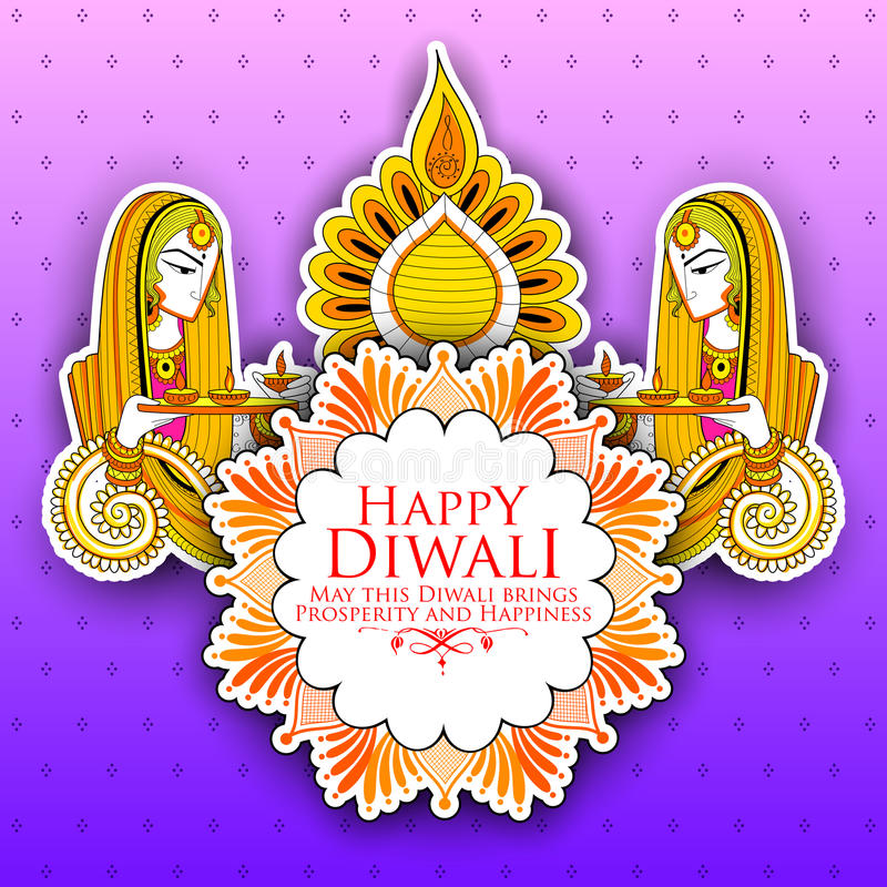 Diya brûlant de Madame sur le fond heureux de vacances de Diwal pour le festival léger de l'Inde illustration libre de droits
