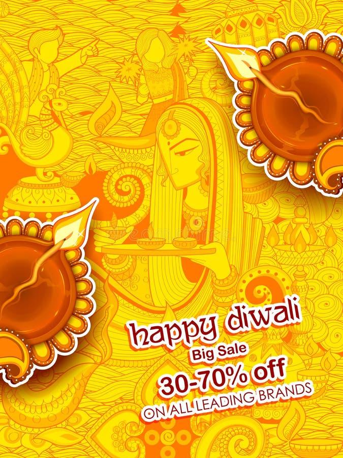 Diya brûlant sur le fond heureux de publicité de promotion des ventes de vacances de Diwali illustration libre de droits