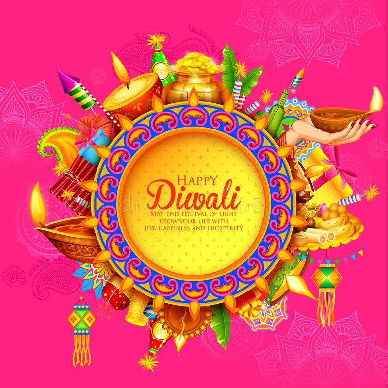 Diya brûlant sur le fond heureux de vacances de Diwali pour le festival léger de l'Inde illustration de vecteur