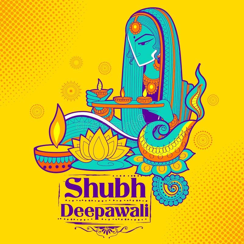 Diya brûlant de Madame sur le fond heureux de griffonnage de vacances de Diwali pour le festival léger de l'Inde illustration libre de droits