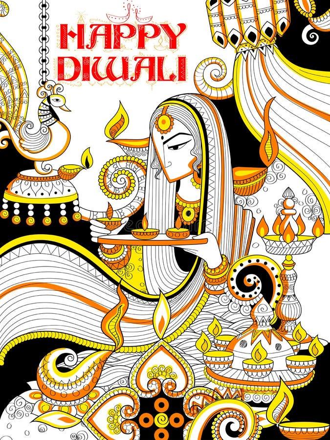Diya brûlant sur le fond heureux de griffonnage de vacances de Diwali pour le festival léger de l'Inde illustration stock