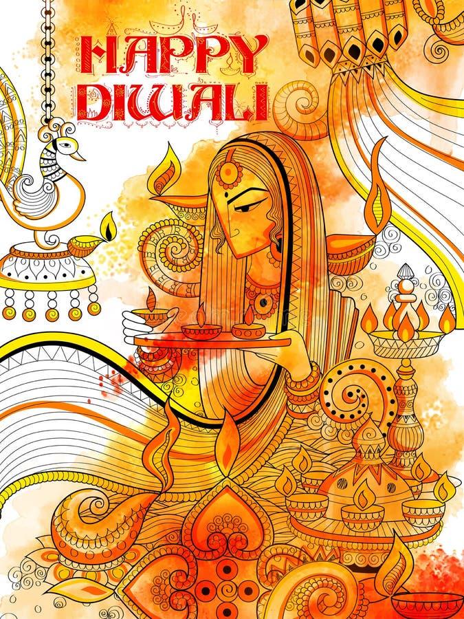 Diya brûlant sur le fond heureux de griffonnage de vacances de Diwali pour le festival léger de l'Inde illustration de vecteur