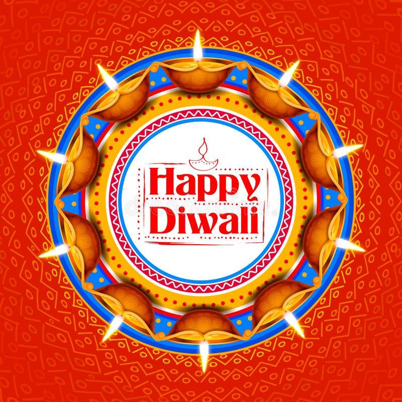 Diya brûlant sur le fond heureux de vacances de Diwali pour le festival léger de l'Inde illustration libre de droits