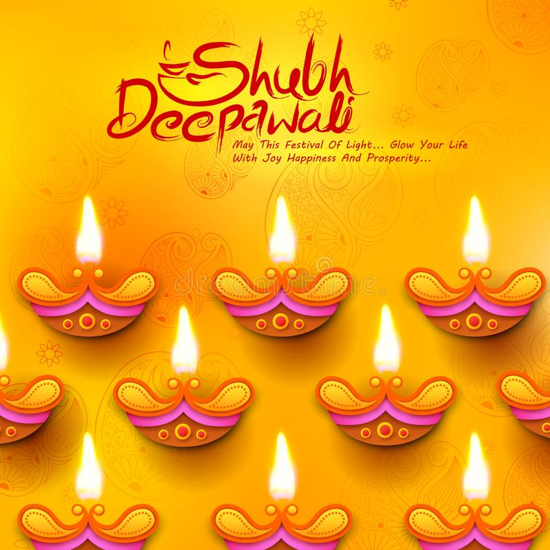 Diya bruciante sul fondo di festa di Diwali per il festival leggero dell'India con il messaggio in hindi che significano Dipawali illustrazione di stock