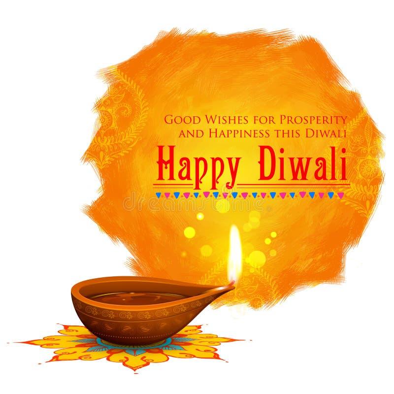 Diya coloful dell'acquerello del fondo felice di Diwali illustrazione vettoriale