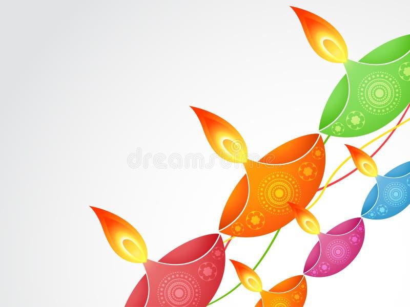 Diya colorido do diwali ilustração do vetor