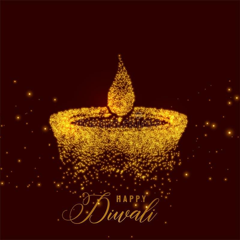 Diya criativo do diwali feito com partículas douradas ilustração royalty free