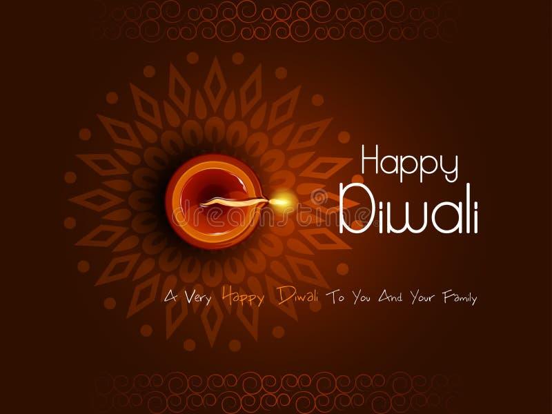 Diya décoré pour la célébration heureuse de vacances de festival de Diwali du fond de salutation d'Inde illustration libre de droits