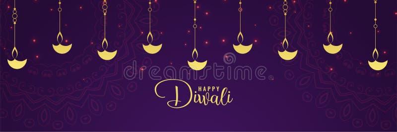 Diya d'or de diwali heureux et fond pourpre illustration de vecteur