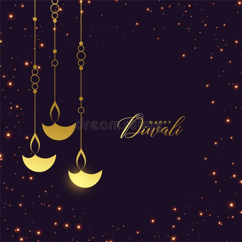 Diya de suspensão dourado superior com fundo dos sparkles ilustração royalty free