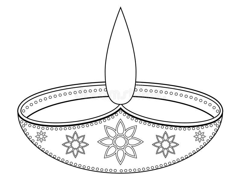 Diya Drawing Vector Illustration royalty-vrije illustratie