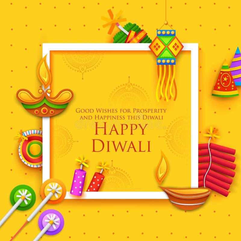 Diya et pétard brûlants sur le fond heureux de vacances de Diwali pour le festival léger de l'Inde illustration stock
