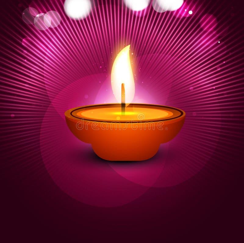 Diya hermoso del festival feliz elegante del diwali del vector stock de ilustración