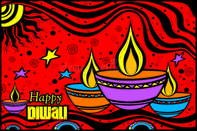 Diya heureux de Diwali dans le style indien d'art