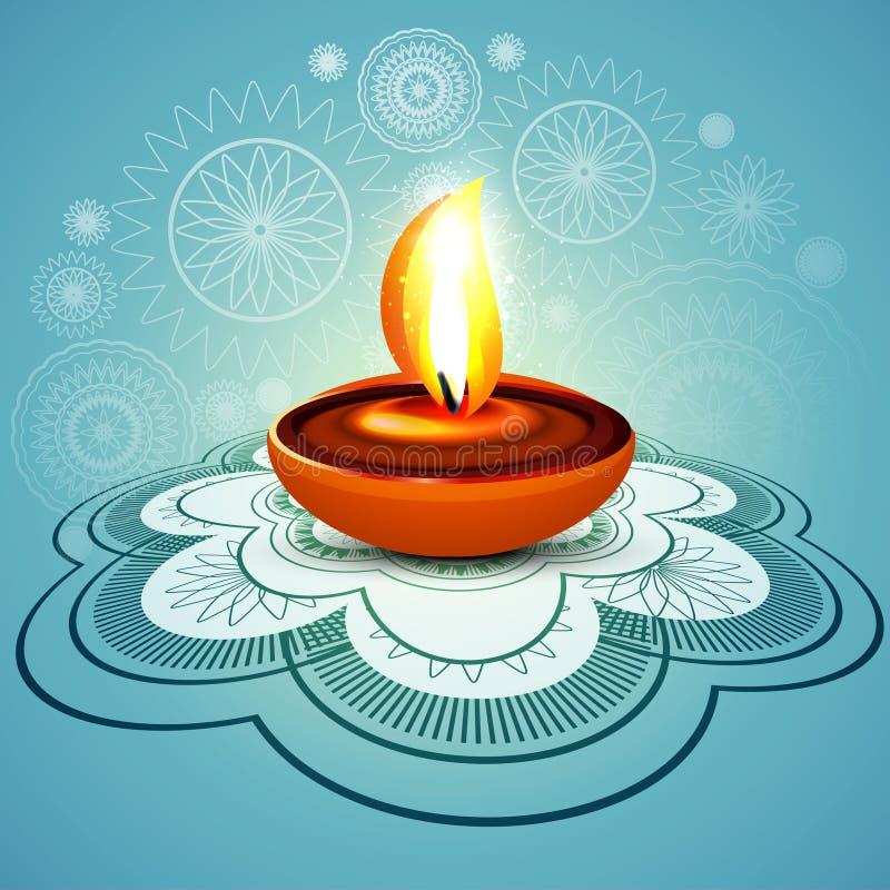 Diya hindú colorido azul del diwali feliz elegante hermoso del rangoli stock de ilustración