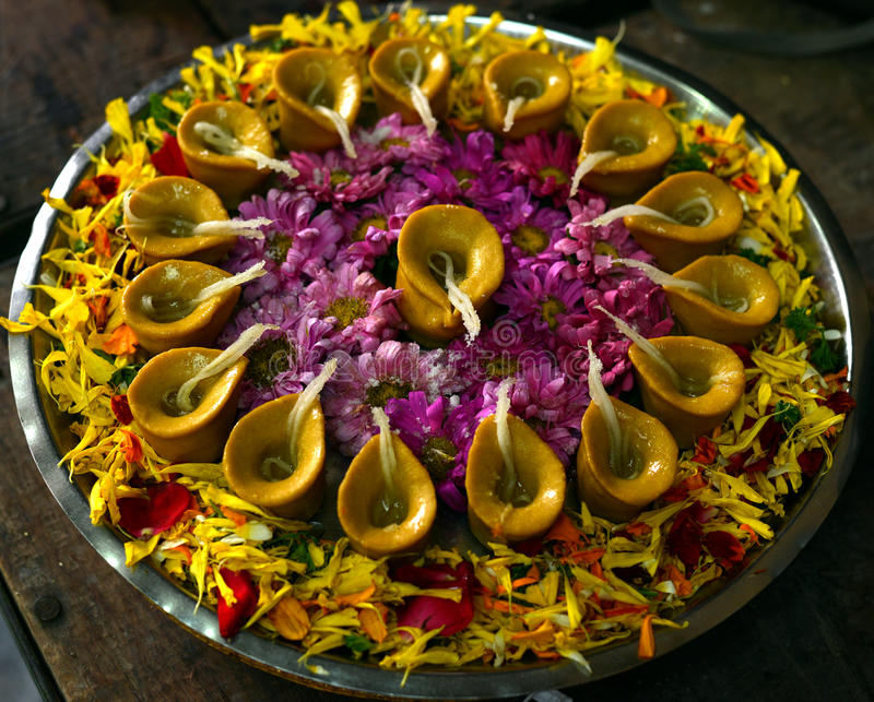 Download Diya, Oil Lamps, Indian Festival Of Lights Stock Photo   Image Of  Plate