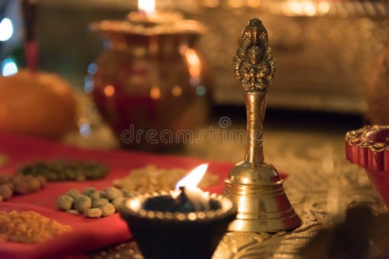 Diya and puja bell royalty free stock image