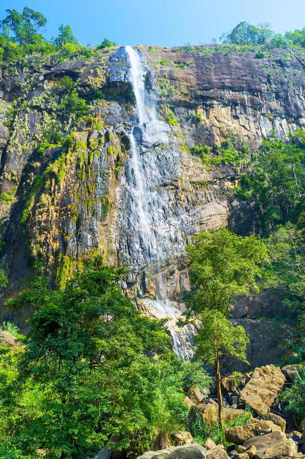 The Diyaluma Falls in Koslanda. Sri Lanka boasts beautiful waterfalls, such as Diyaluma Falls, that is the second highest one in the island, Koslanda, Sri Lanka stock photos