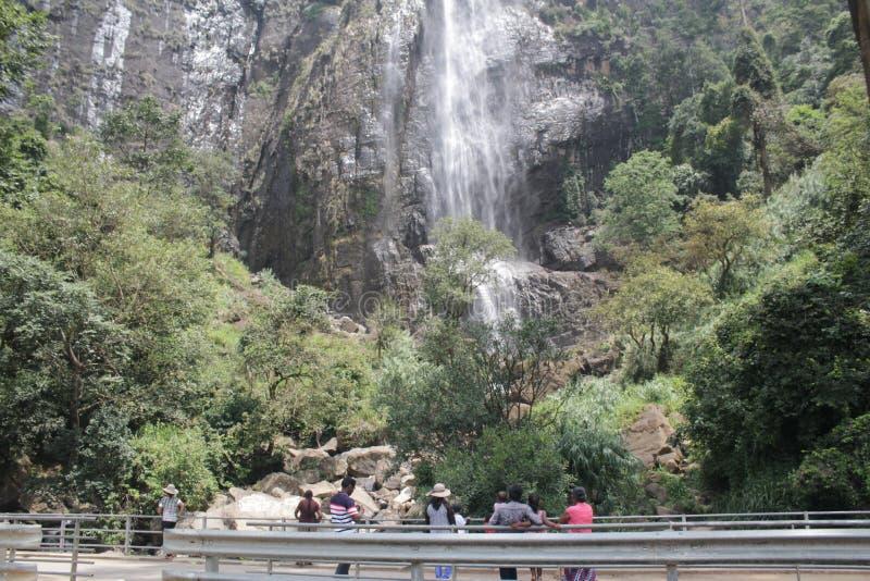This is the Diyaluma Waterfall in Sri Lanka. The is very beautiful and 220 m high water fall in Sri Lanka. It can see Beragala - Wellawaya Road 6 km away from royalty free stock image
