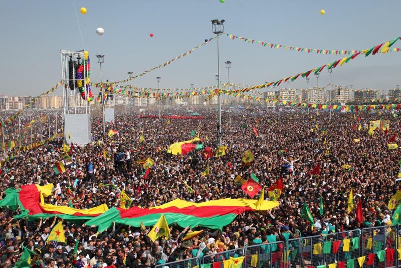Newroz in Diyarbakir, die Türkei. stockbild