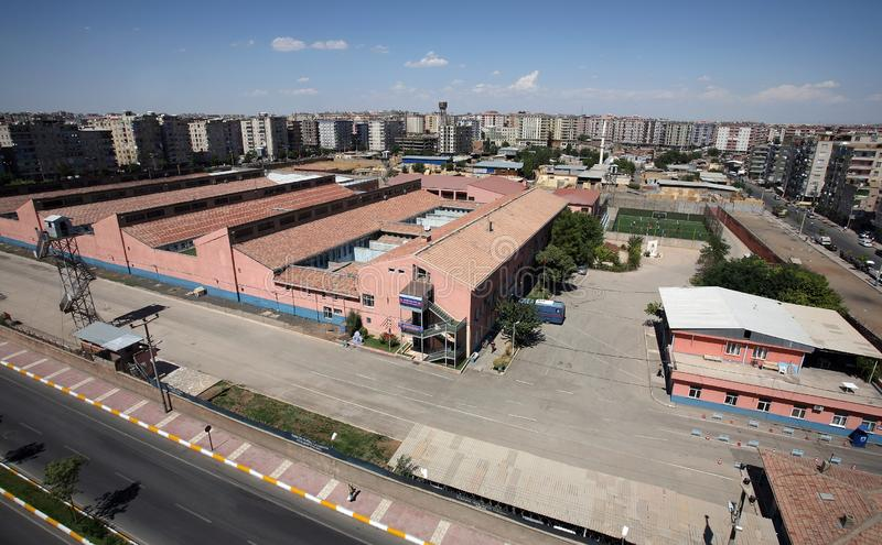 Diyarbakir Prison Bulding. In Diyarbakir, Turkey. The capacity of Diyarbakir E-type Prison is 744. However, the prison is sometimes overcrowded royalty free stock photos