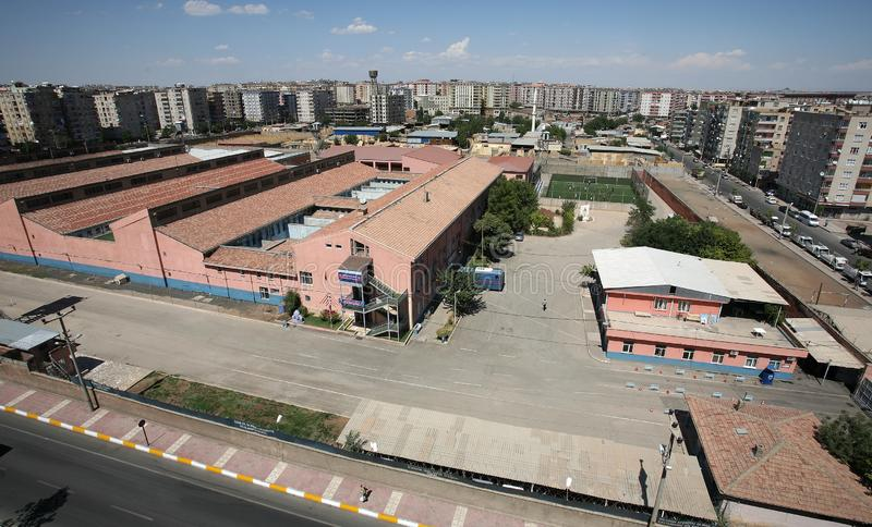 Diyarbakir Prison Bulding. In Diyarbakir, Turkey. The capacity of Diyarbakir E-type Prison is 744. However, the prison is sometimes overcrowded royalty free stock image