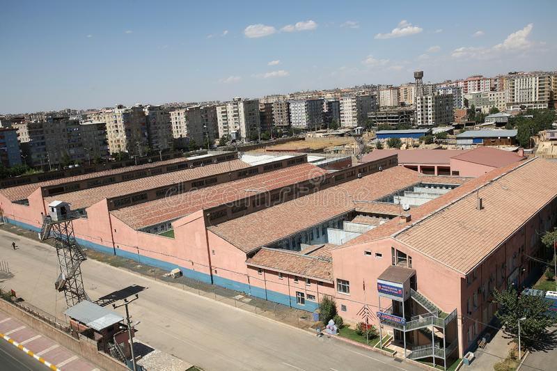 Diyarbakir Prison Bulding. In Diyarbakir, Turkey. The capacity of Diyarbakir E-type Prison is 744. However, the prison is sometimes overcrowded royalty free stock images