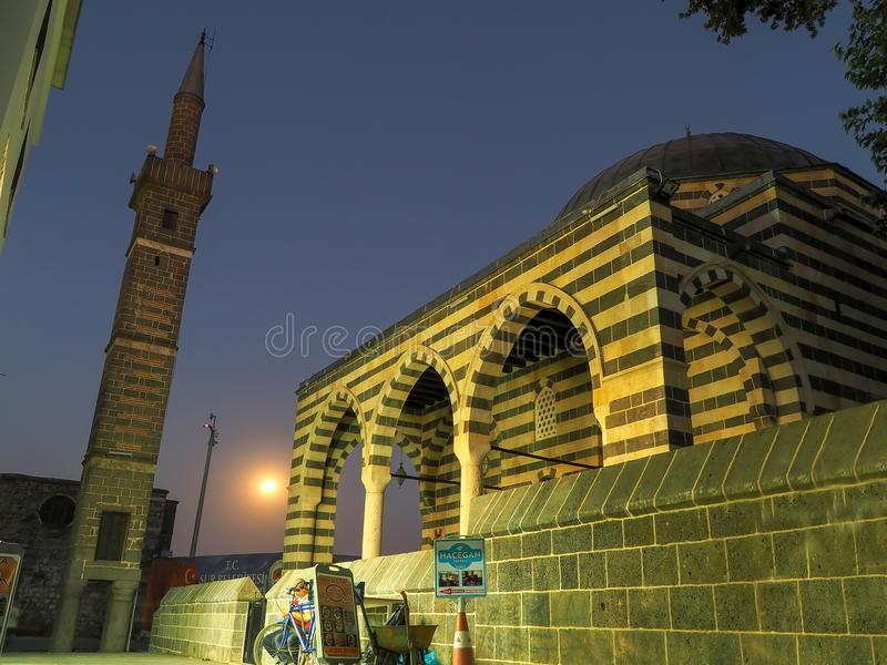 DIYARBAKIR, TURQUIE - 25 août 2018 : Vue du minaret à quatre jambes, le central de Diyarbakir, image stock
