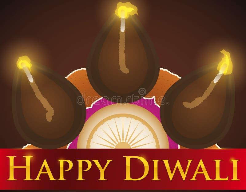 Diyas över det Rangoli design- och hälsningbandet för Diwali, vektorillustration stock illustrationer