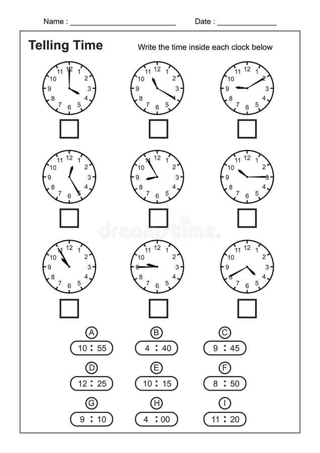 Dizendo a hora que diz a prática do tempo para crianças cronometre folhas para que aprender diga folhas do tempo do jogo do tempo ilustração royalty free