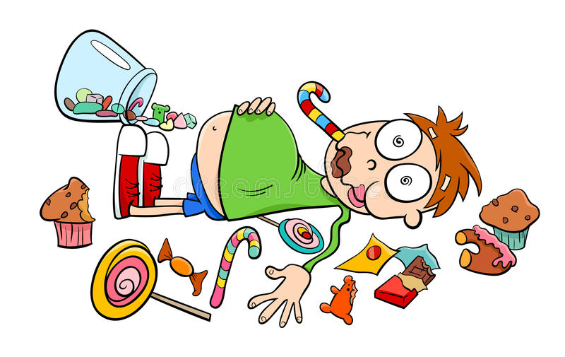 Dizer como uma criança em uns desenhos animados da loja de doces ilustração stock
