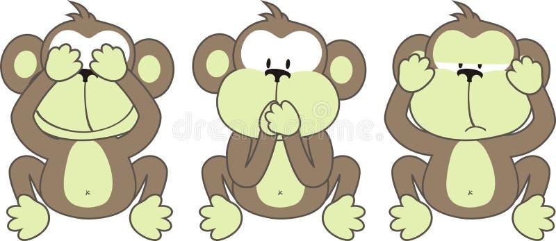 Dizer de três macacos ilustração do vetor