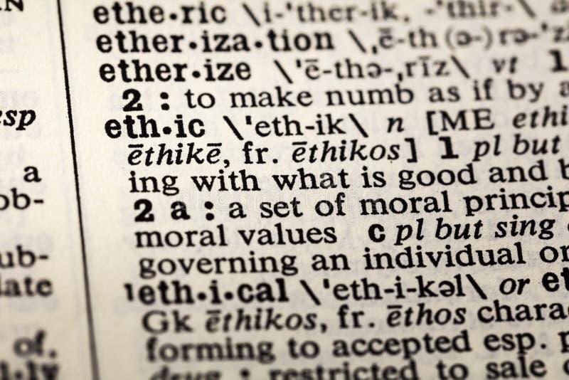 Dizionario morale etico di definizione di etica etica immagini stock libere da diritti