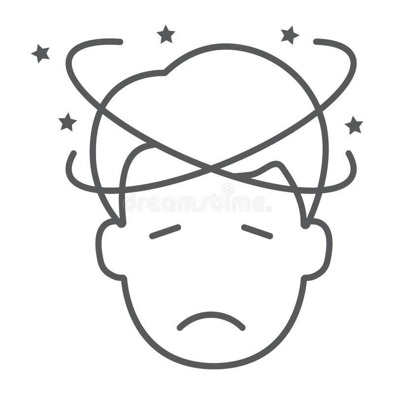 Dizziness cienka kreskowa ikona, stres i istota ludzka, wprawiać w zakłopotanie mężczyzny znak, wektorowe grafika, liniowy wzór n royalty ilustracja