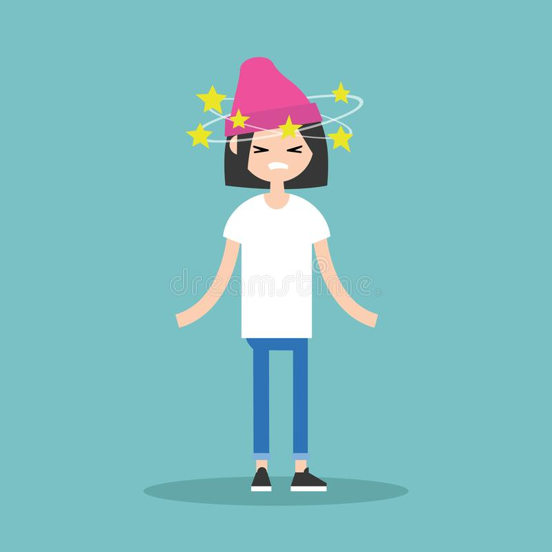 Dizziness conceptual illustration. Young brunette girl with star royalty free illustration