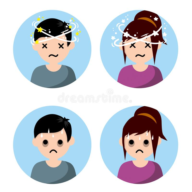 Dizziness And Nausea. Painful And Weak Condition Of Man And Woman Stock  Vector - Illustration of flat, around: 182289944