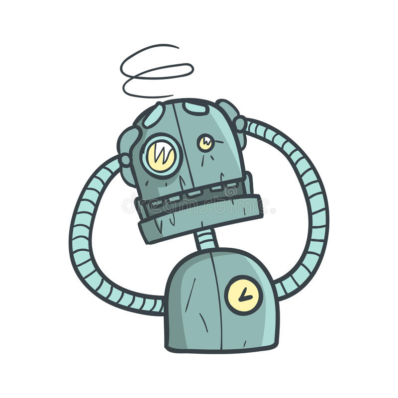 Dizzy Blue Robot Cartoon Outlined Illustration With Cute Android And His Emotions. Comic Vector Sticker With Humanoid Artificial Intelligence Character vector illustration