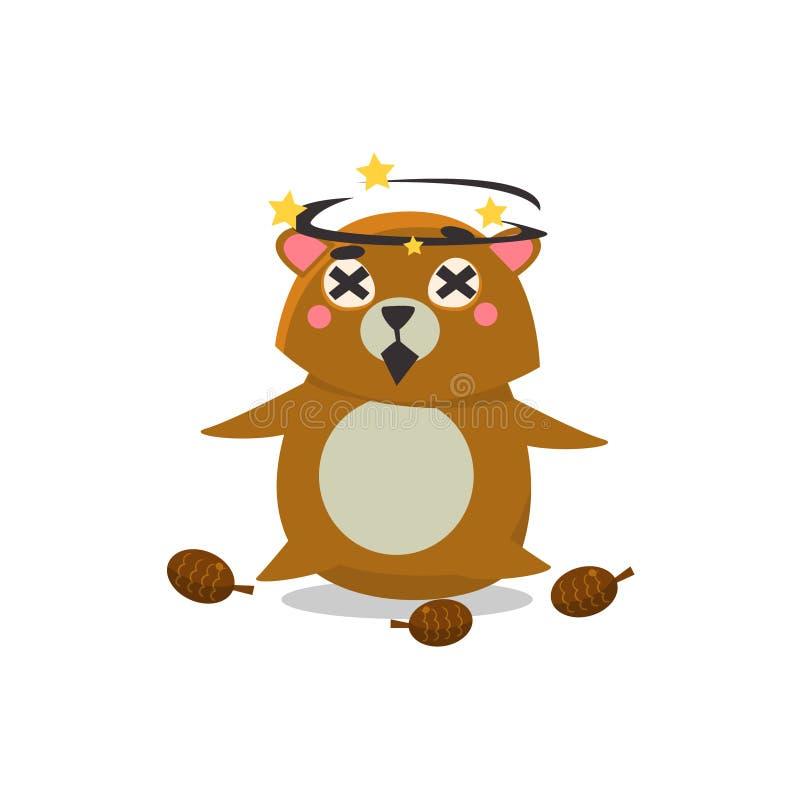 Dizzy Brown Bear vektor illustrationer