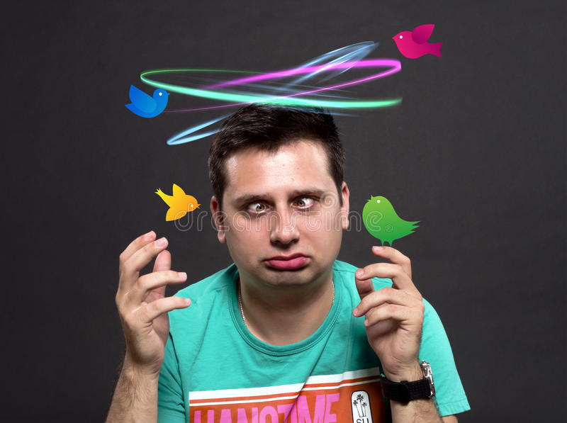 Download Dizzy man stock photo. Image of dizzy, birds, face, colored - 26161756