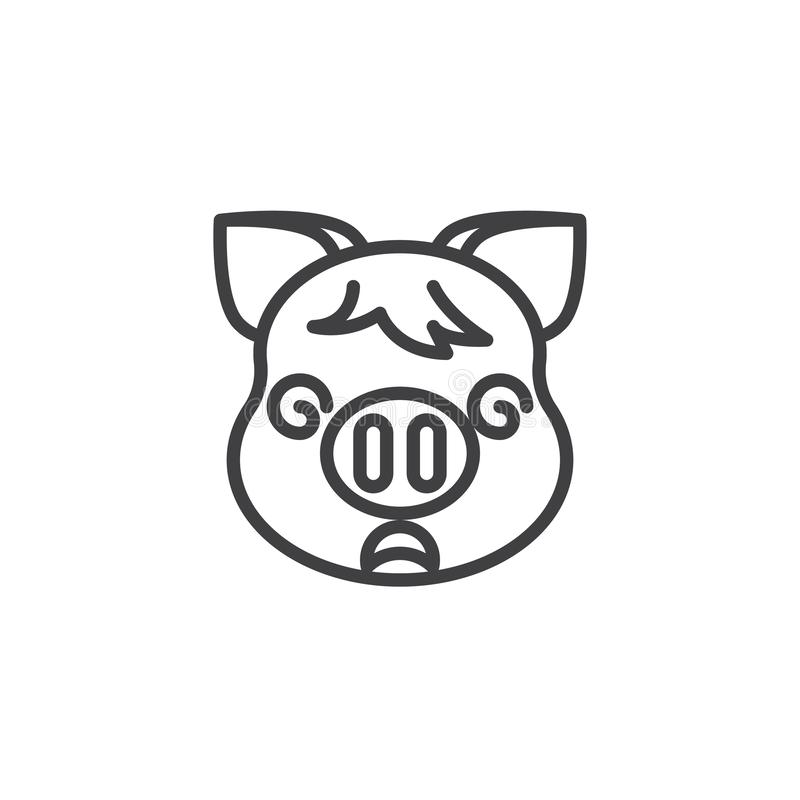 Dizzy piggy face emoji line icon. Linear style sign for mobile concept and web design. Crazy piggy face emoticon outline vector icon. New year Pig head symbol stock illustration