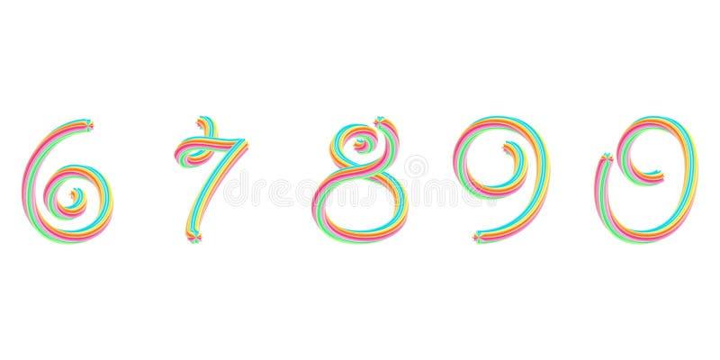 Djärv färgrik stilsort alfabet för effekt 3D royaltyfri illustrationer